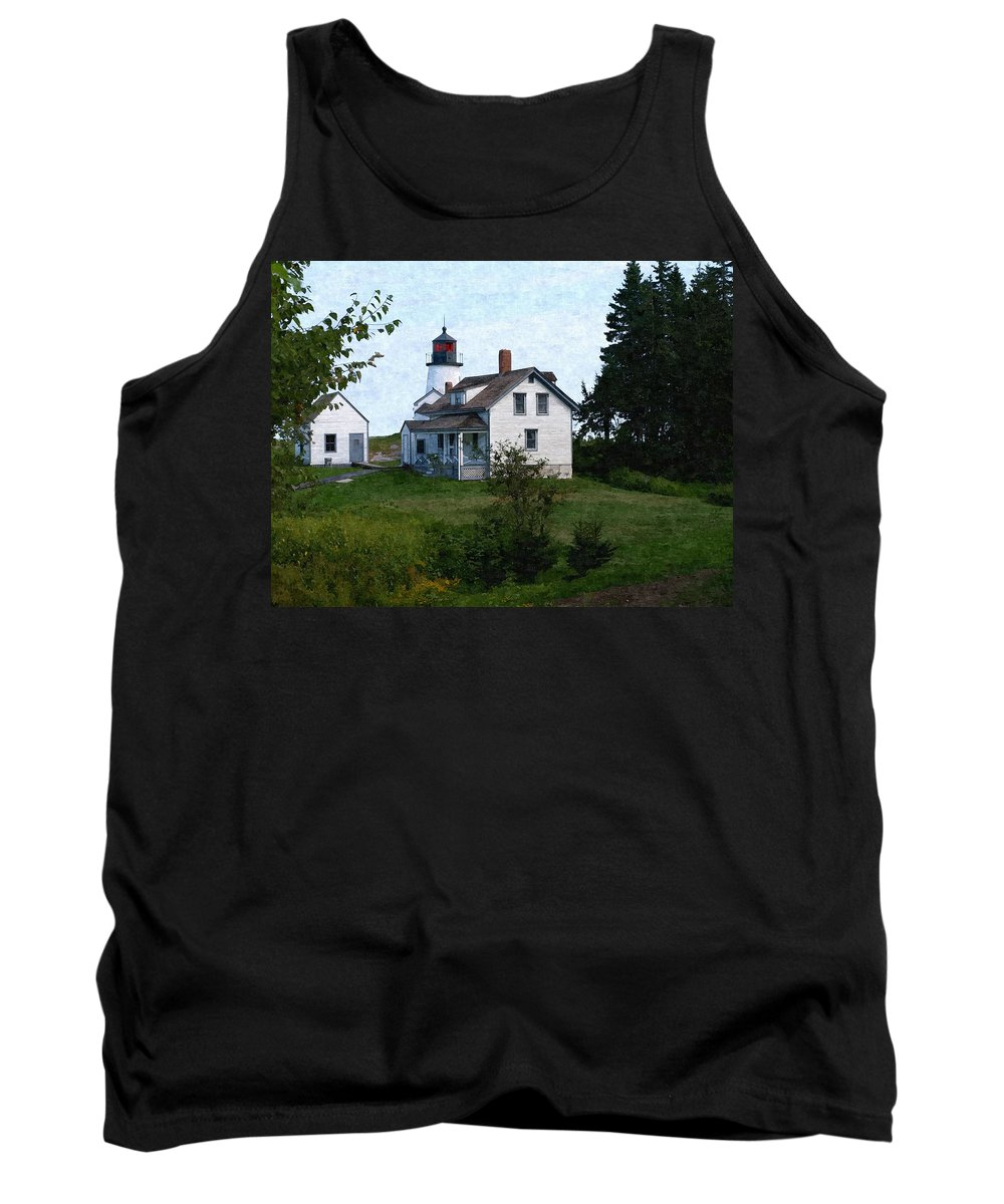 New England Lighthouse Tank Top featuring the photograph Burnt Island Maine by Nancie DeMellia