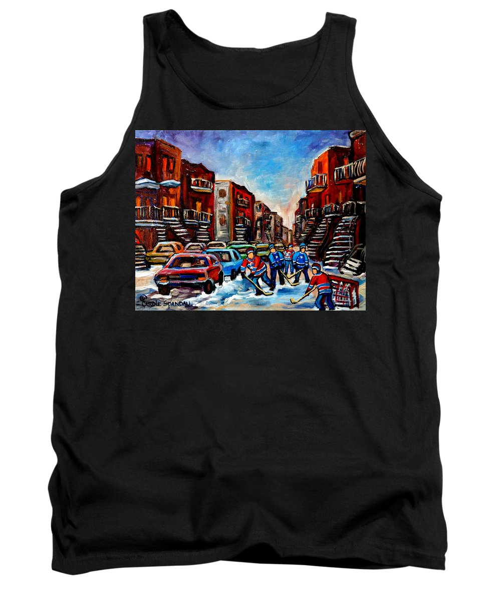 Montreal Tank Top featuring the painting Late Afternoon Street Hockey by Carole Spandau