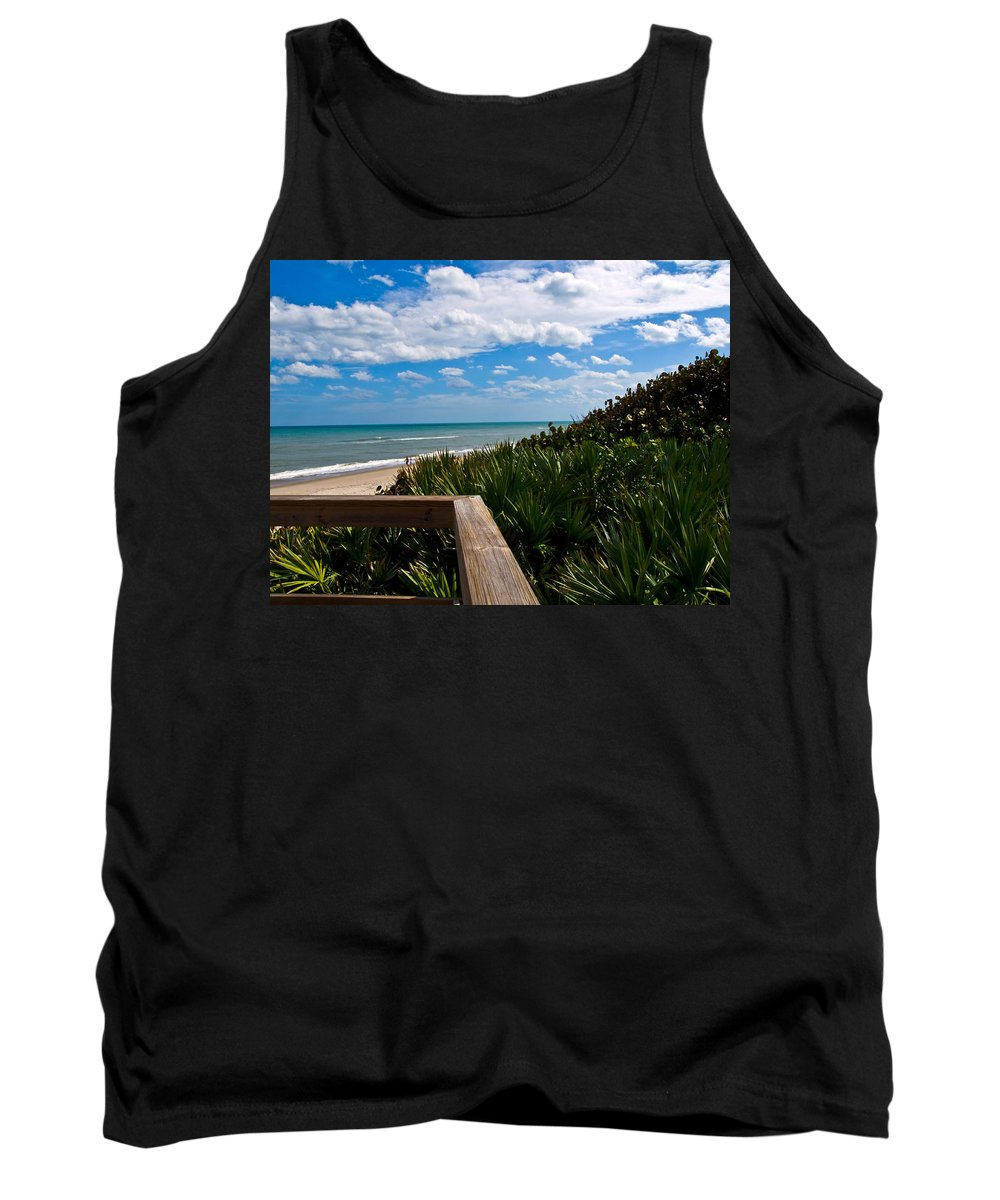 Beach; February; Florida; Warm; Warmth; Temperature; Degrees; Weather; Sun; Melbourne; Sand; Shore; Tank Top featuring the photograph Melbourne Beach On The East Coast Of Florida by Allan Hughes