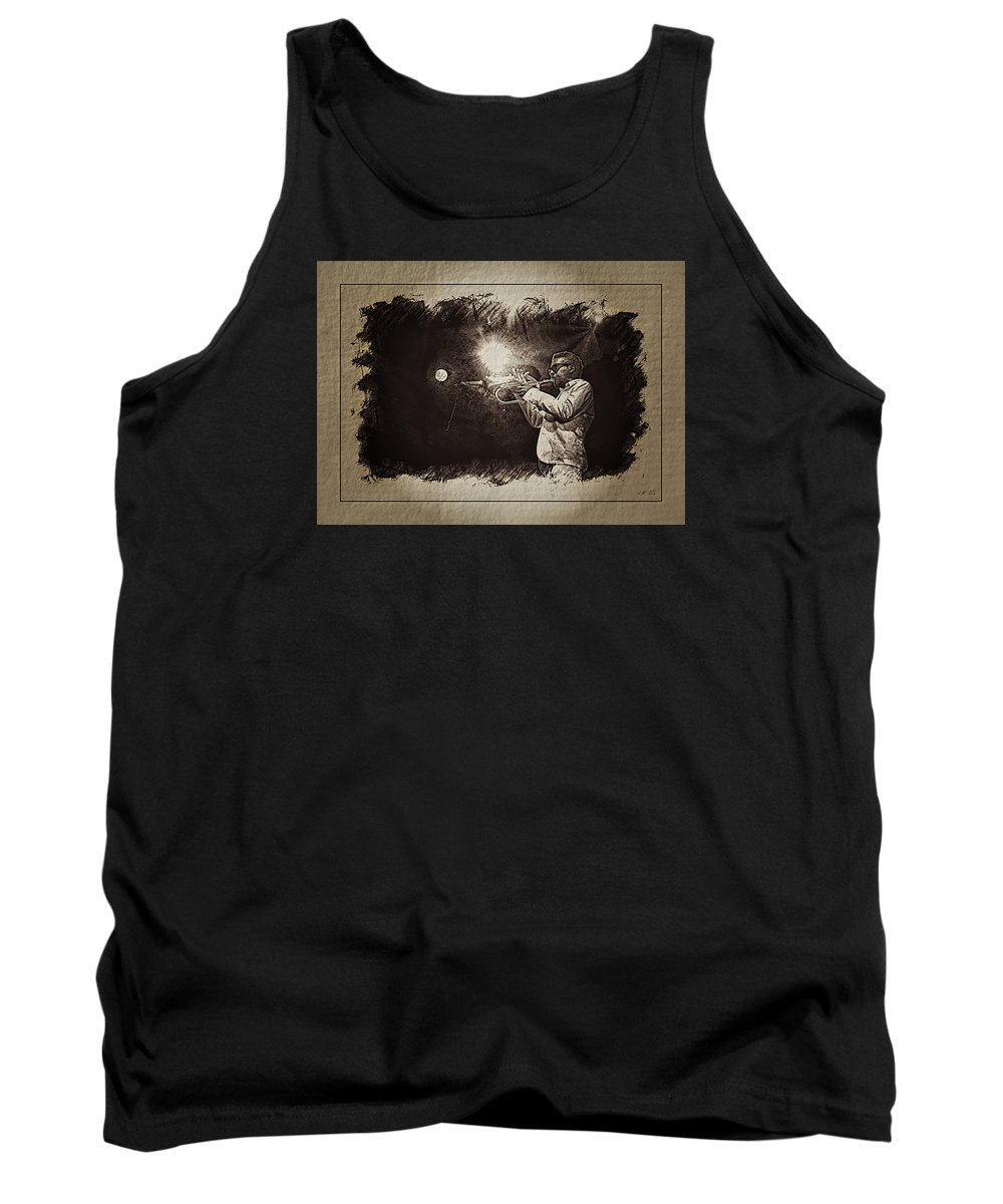 Roy Hargrove Tank Top featuring the photograph Trompettiste, Jazz, Blues, by Jean Francois Gil