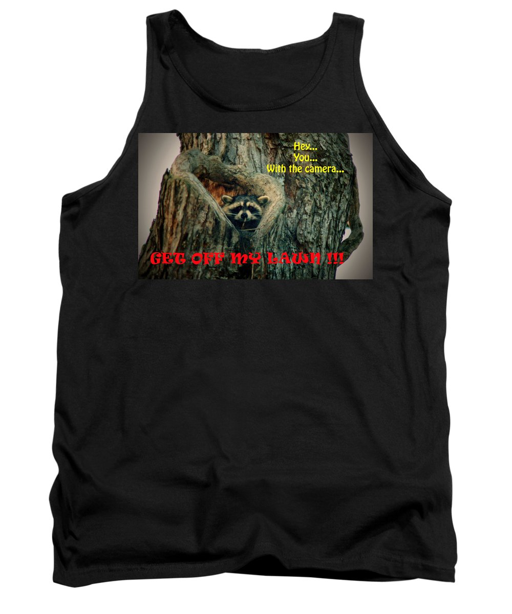 Raccoon Tank Top featuring the photograph 072509-17-t by Mike Davis