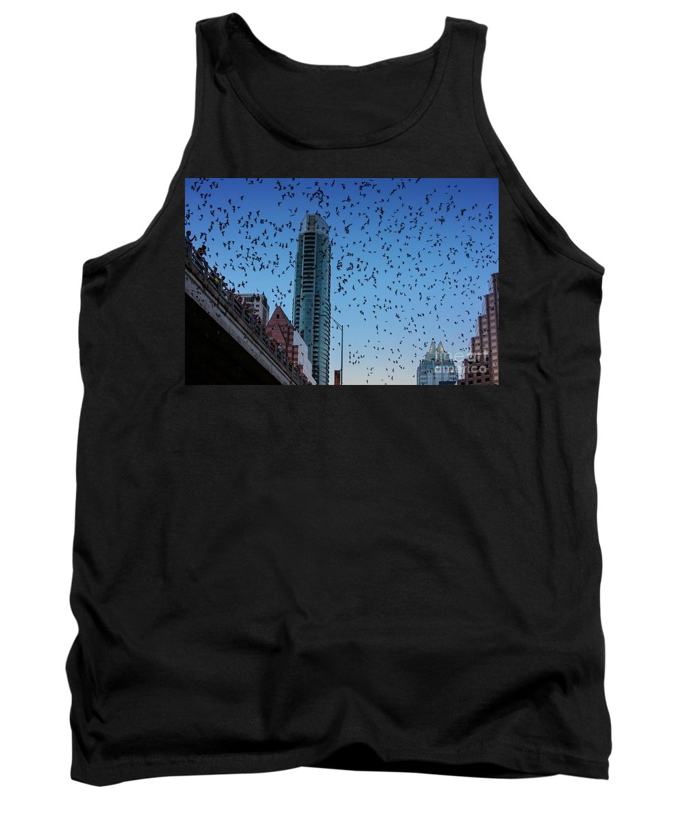 Bat Tank Top featuring the photograph 1.5 Million Mexican Free-tail Bats Overtake The Austin Skyline As They Exit The Congress Avenue Bridge by Austin Welcome Center