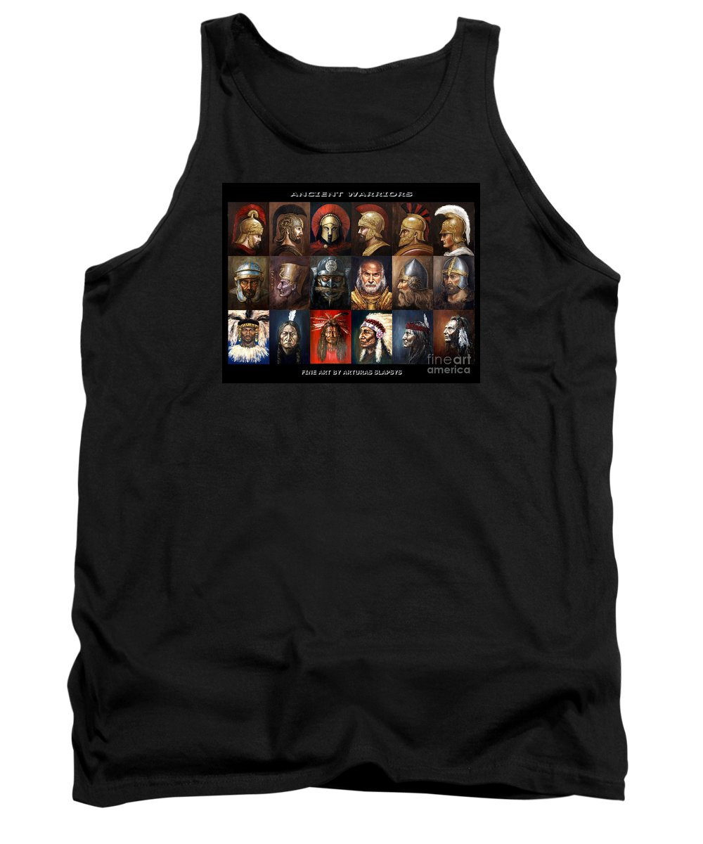 Warriors Tank Top featuring the mixed media Ancient Warriors by Arturas Slapsys
