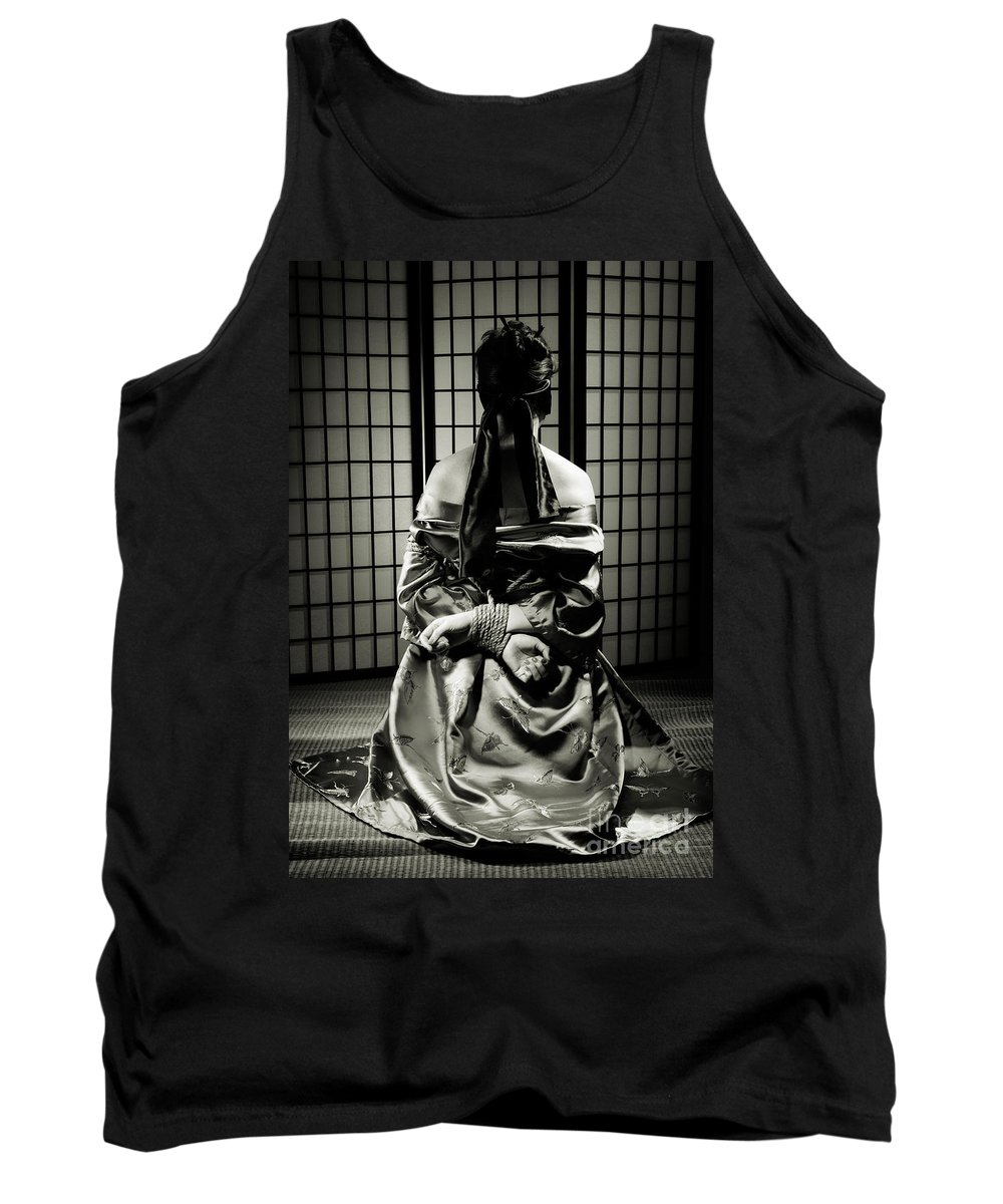 Bondage Tank Top featuring the photograph Asian Woman With Her Hands Tied Behind Her Back by Oleksiy Maksymenko