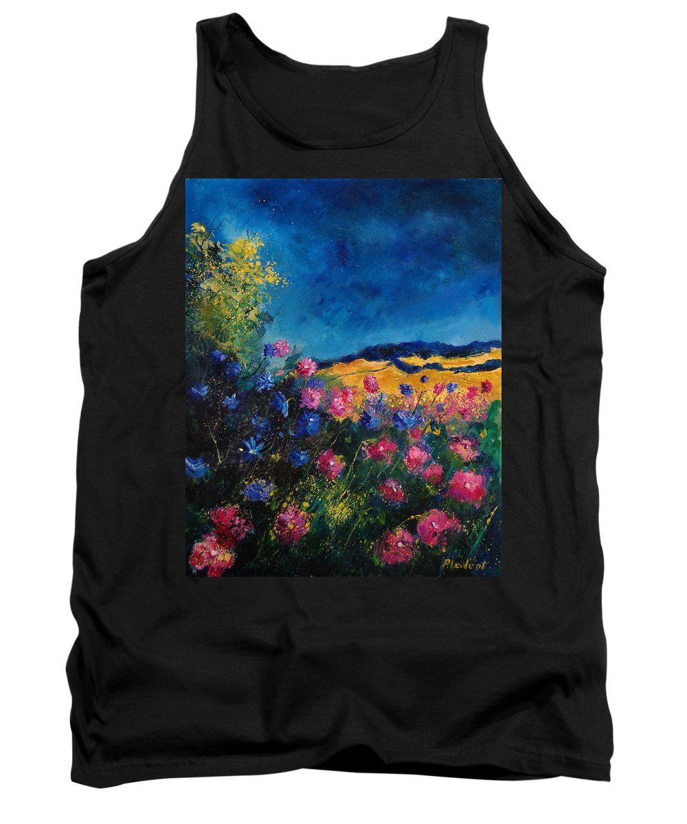 Flowers Tank Top featuring the painting Blue And Pink Flowers by Pol Ledent