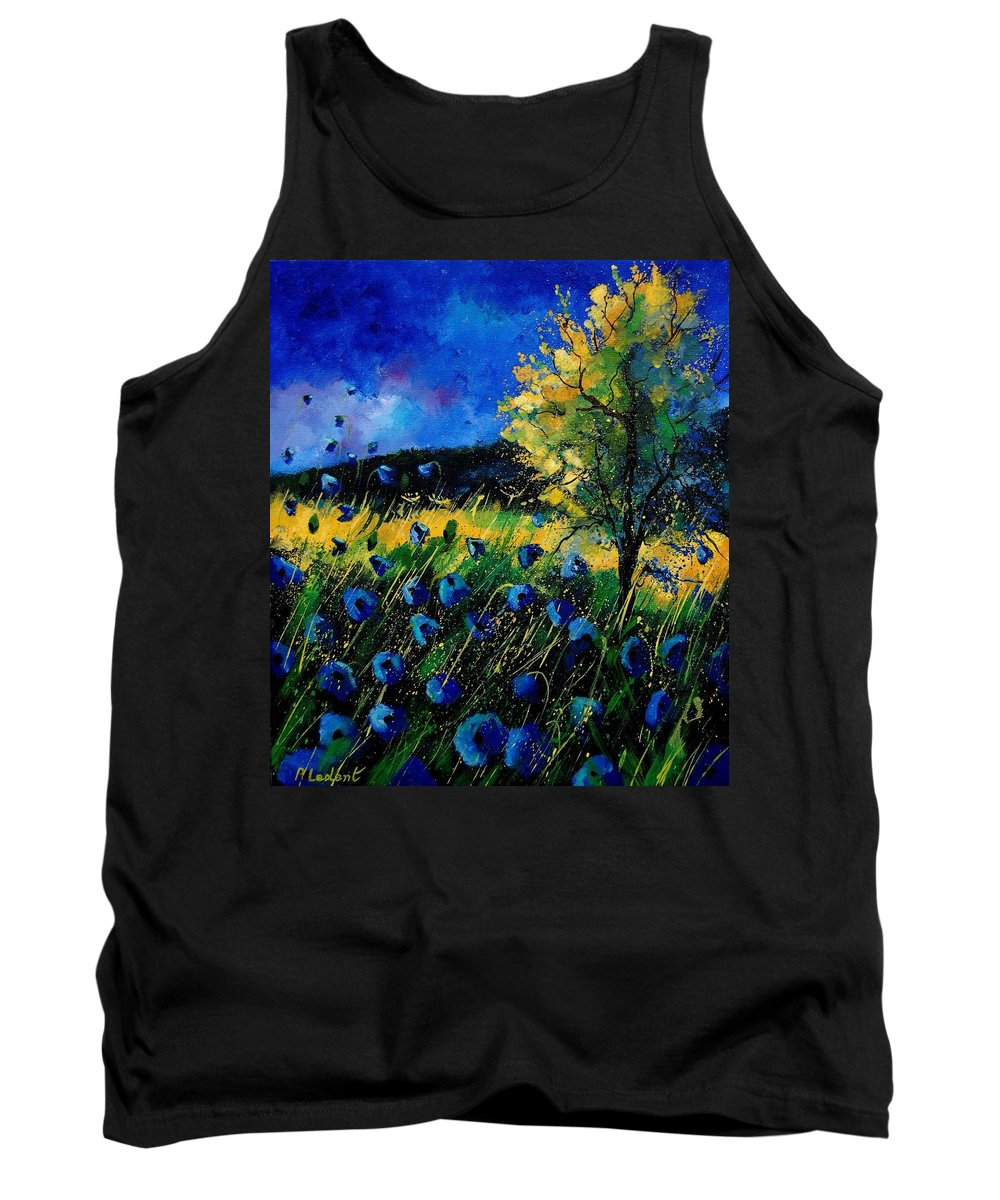 Poppies Tank Top featuring the painting Blue poppies by Pol Ledent