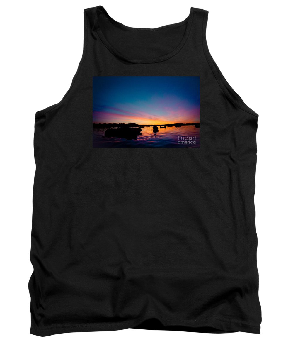 Waters Tank Top featuring the photograph Boats And Sunrise Above Lake Water Summer Time Latvia Ezera Skanas by Raimond Klavins