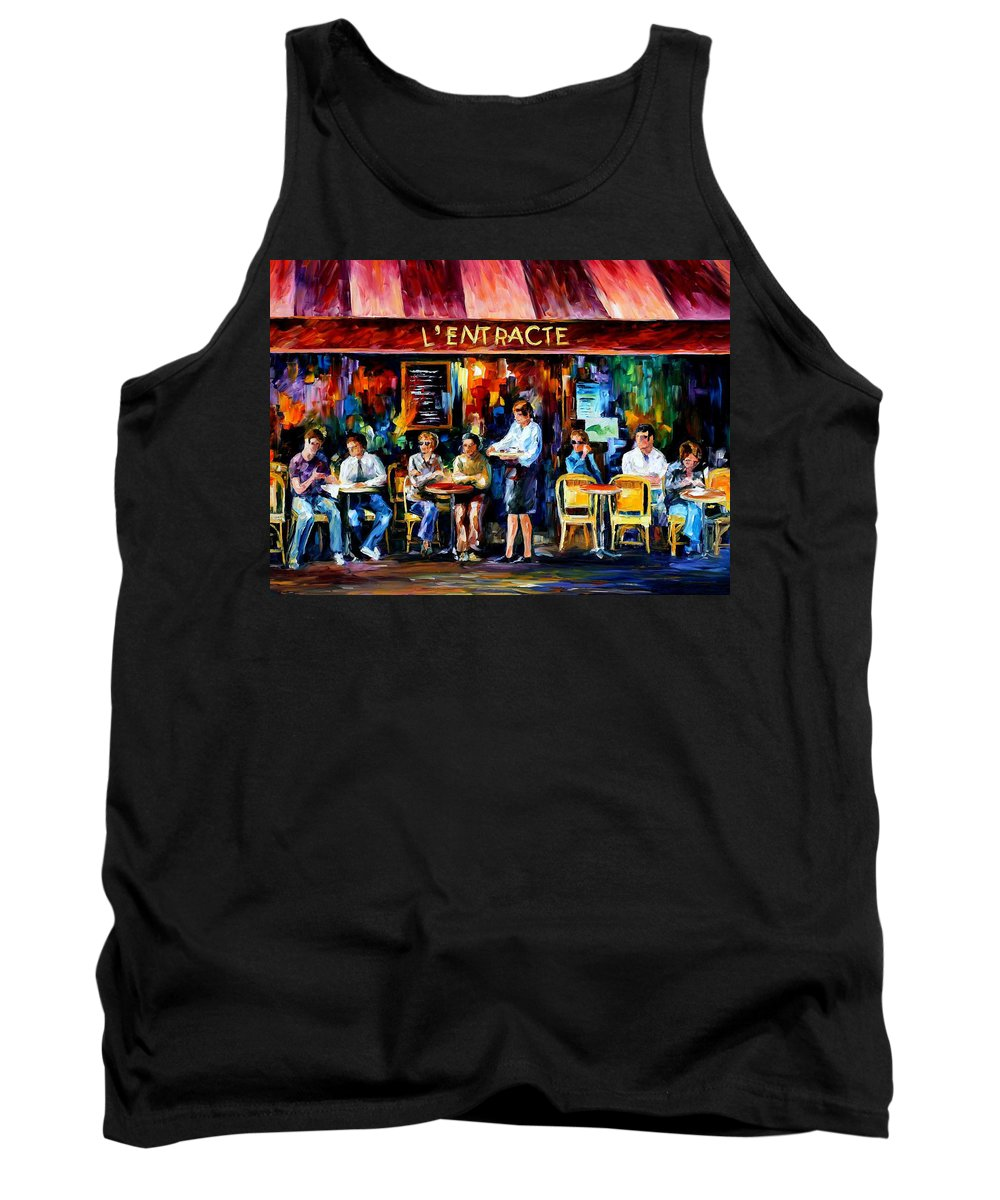Afremov Tank Top featuring the painting Cafe In Paris by Leonid Afremov