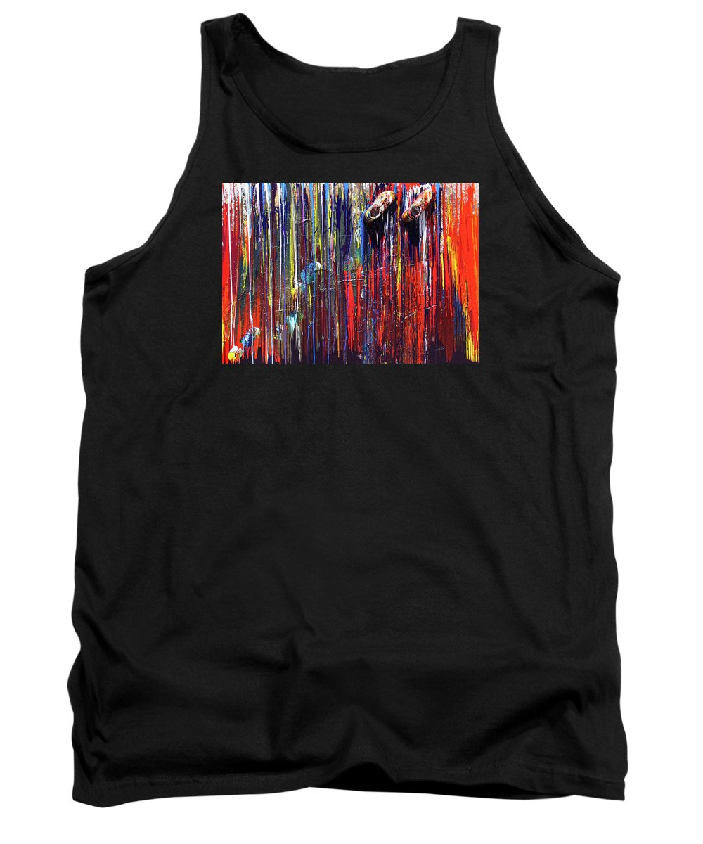 Fusionart Tank Top featuring the painting Climbing the Wall by Ralph White