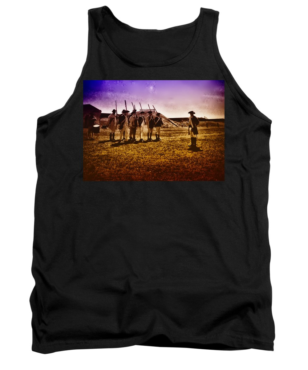 Philadelphia Tank Top featuring the photograph Colonial Soldiers At Fort Mifflin by Bill Cannon