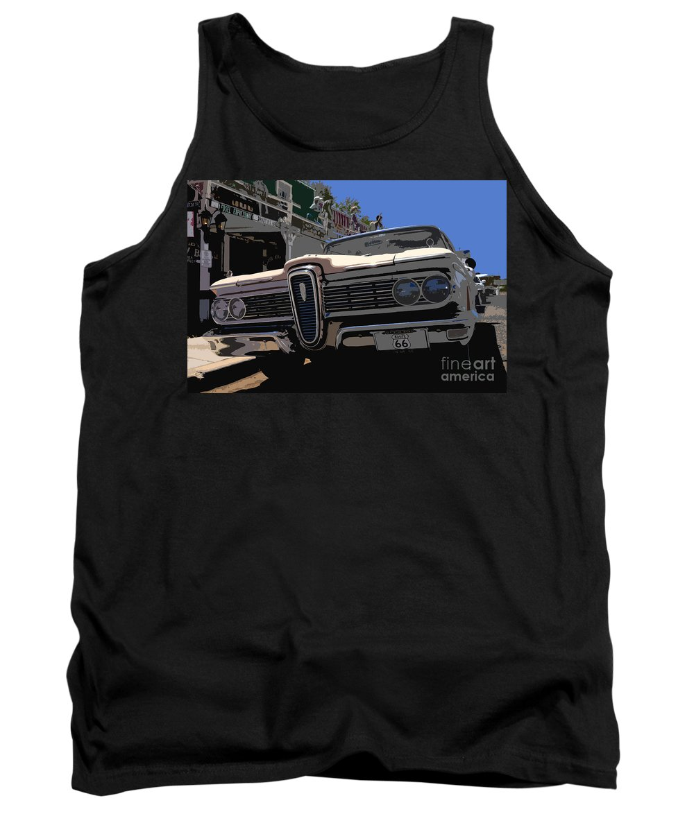 Route 66 Tank Top featuring the painting Edsel On Route 66 by David Lee Thompson