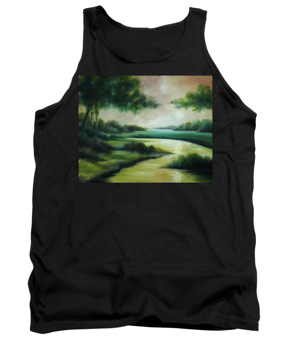 Bright Clouds; Sunsets; Reflections; Ocean; Water; Purple; Orange; Storms; Lightning; Contemporary; Abstract; Realism; James Christopher Hill; James Hill Studios; James C. Hilll; Forest; Flowers; Trees; Green; River; Water Tank Top featuring the painting Emerald Forest by James Christopher Hill