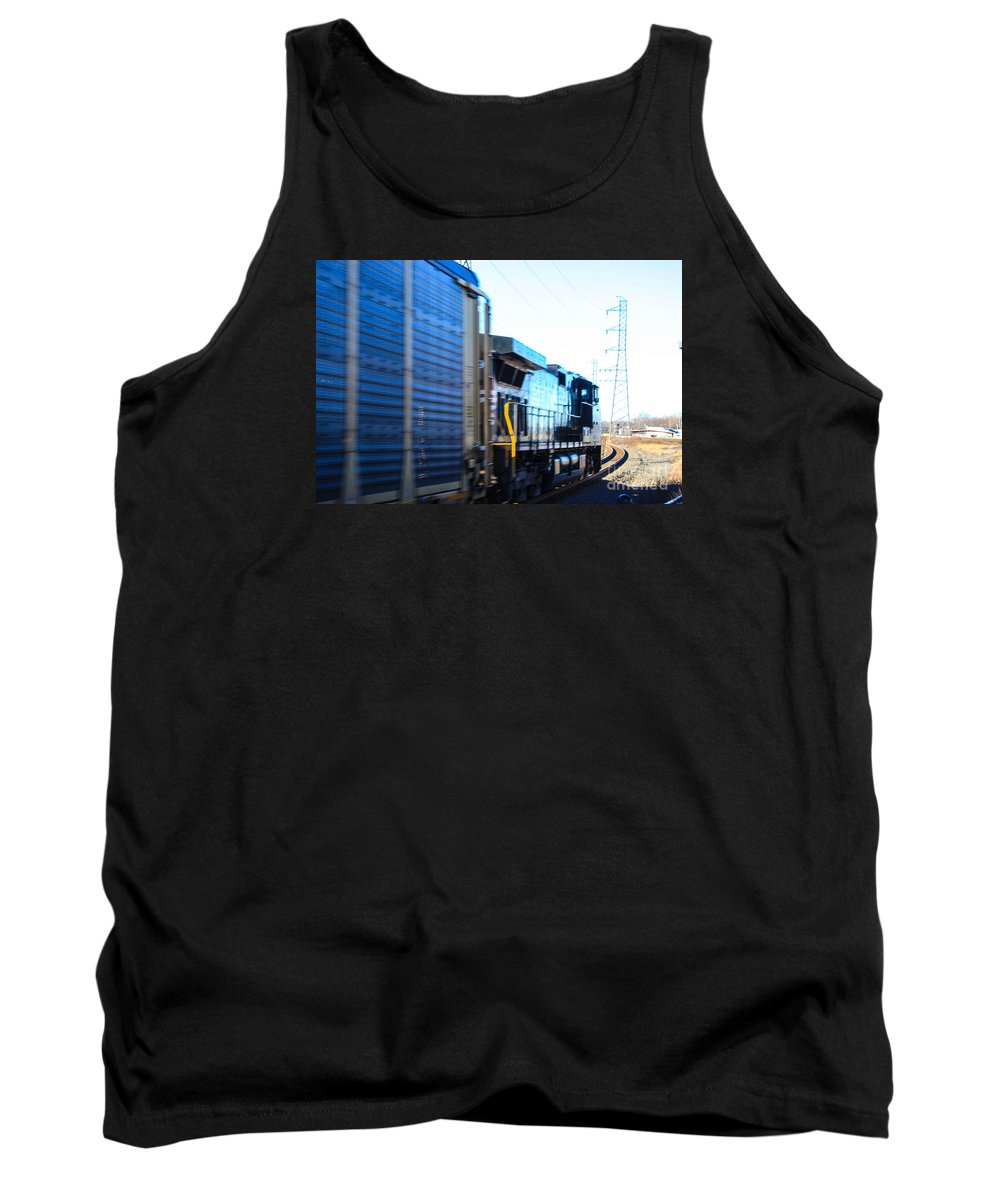 Norfolk Southern Engine Streaming Bye The Bound Brook Station In New Jersey. Tank Top featuring the photograph Engine by William Rogers