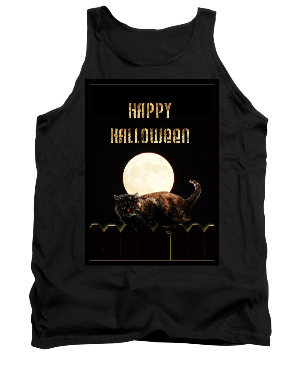 Tank Top featuring the mixed media Full Moon Cat by Gravityx9 Designs