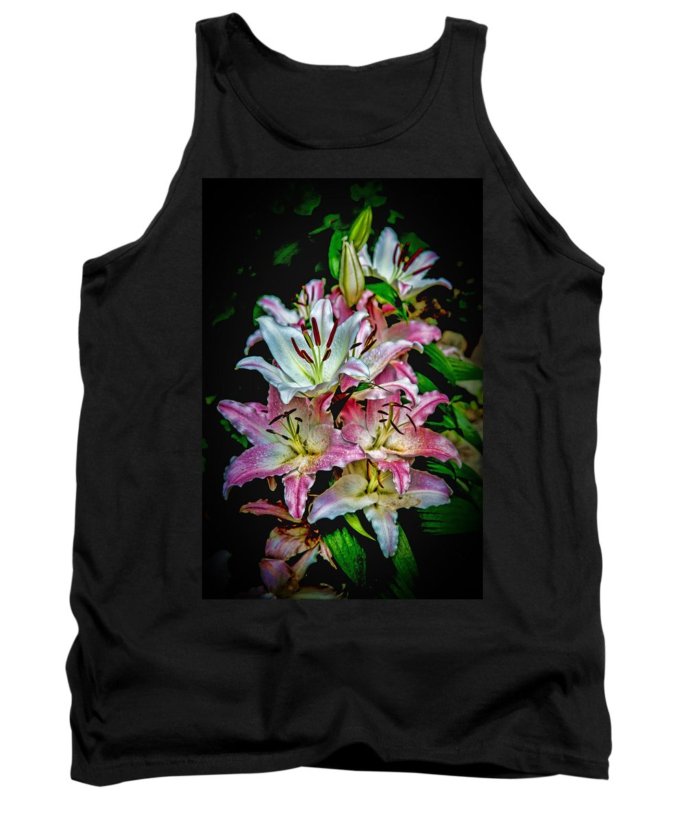 Flowers Tank Top featuring the digital art Lilies Of The Falls by John Haldane