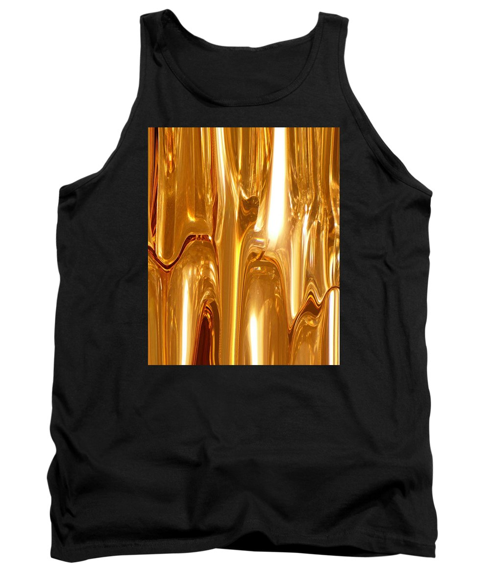 Abstract Tank Top featuring the digital art Liquid Gold by Florene Welebny