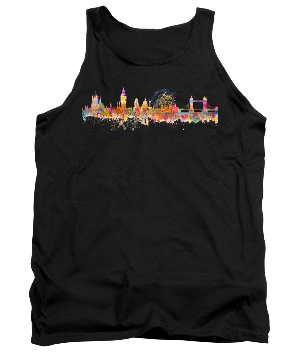 London Tank Top featuring the mixed media London Skyline Watercolor by Michal Boubin