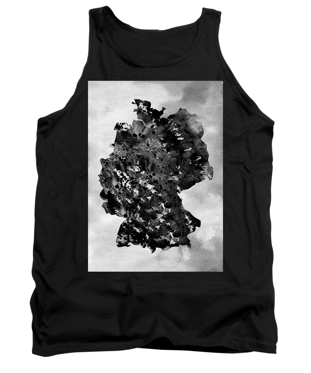 Germany Tank Top featuring the digital art Map Of Germany-black by Erzebet S