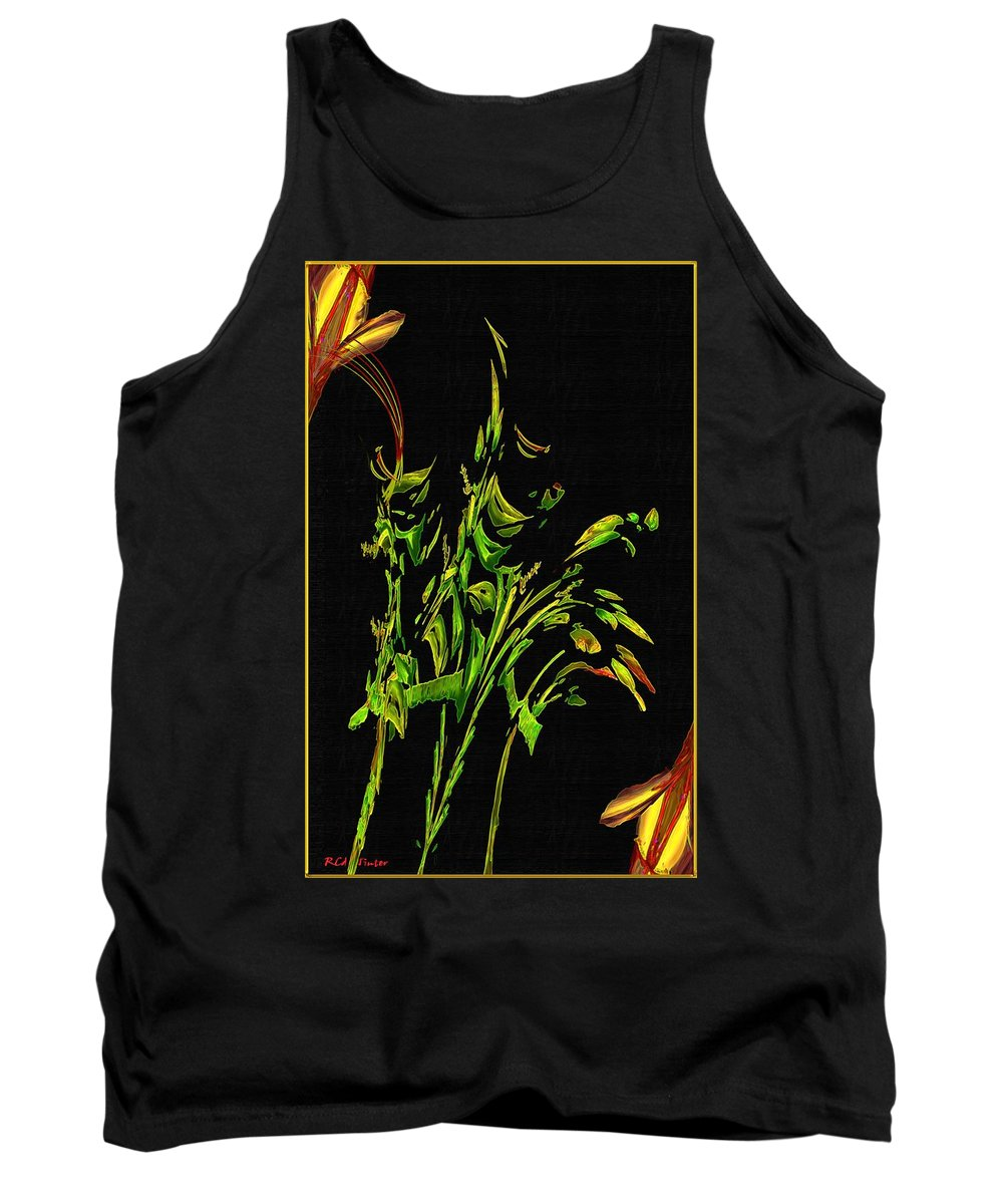 Asian Tank Top featuring the painting Motif Japonica No. 5 by RC DeWinter