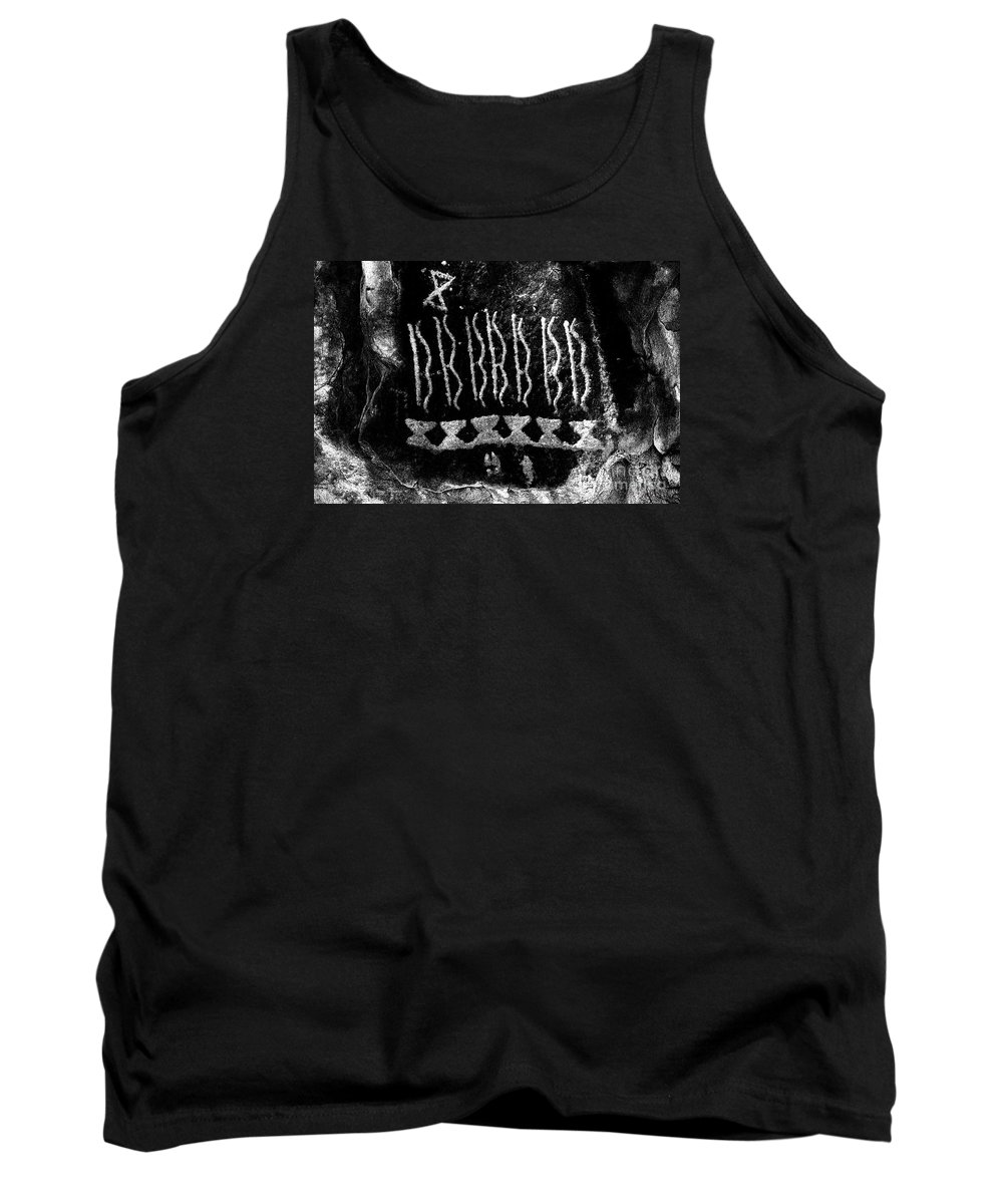 Petroglyphs Tank Top featuring the photograph Native American Petroglyph On Sandstone Black And White by John Stephens