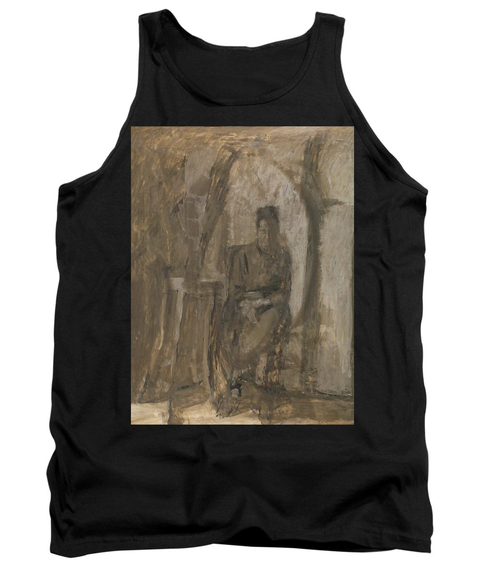 Portrait Tank Top featuring the painting Old Woman by Robert Nizamov