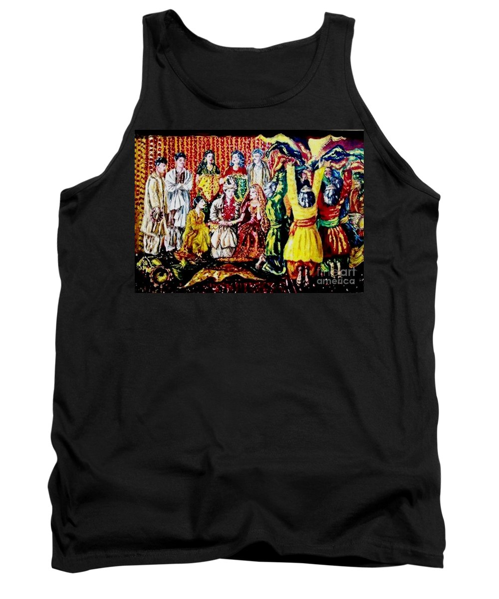 Oil Painting Tank Top featuring the painting Pakistani Wedding by Fareeha Khawaja