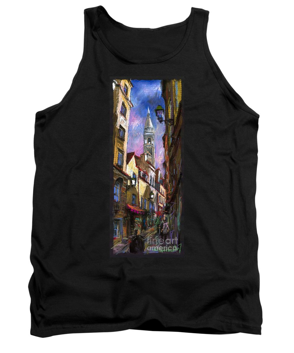 Pastel Tank Top featuring the painting Paris Montmartre by Yuriy Shevchuk