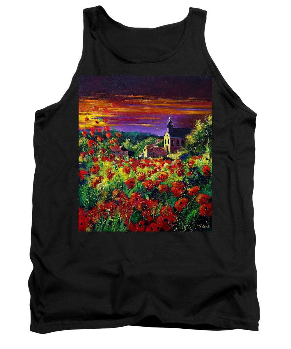 Flowers Tank Top featuring the painting Poppies In Foy by Pol Ledent