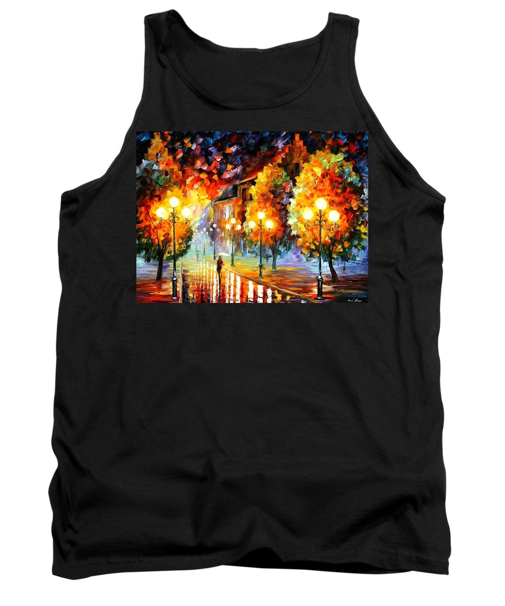 Afremov Tank Top featuring the painting Rain In The Night City by Leonid Afremov