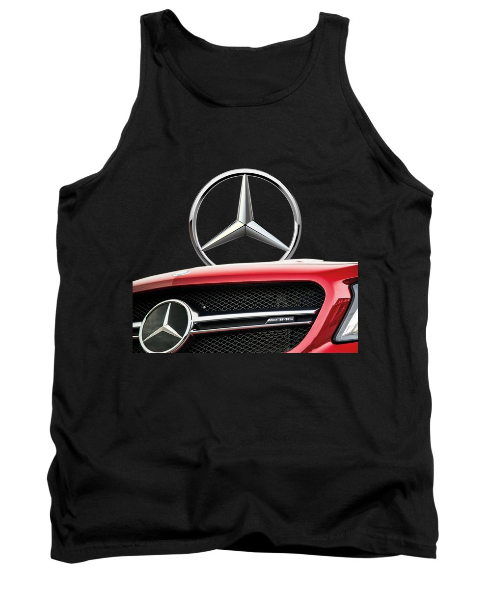 'auto Badges' By Serge Averbukh Tank Top featuring the photograph Red Mercedes - Front Grill Ornament and 3 D Badge on Black by Serge Averbukh