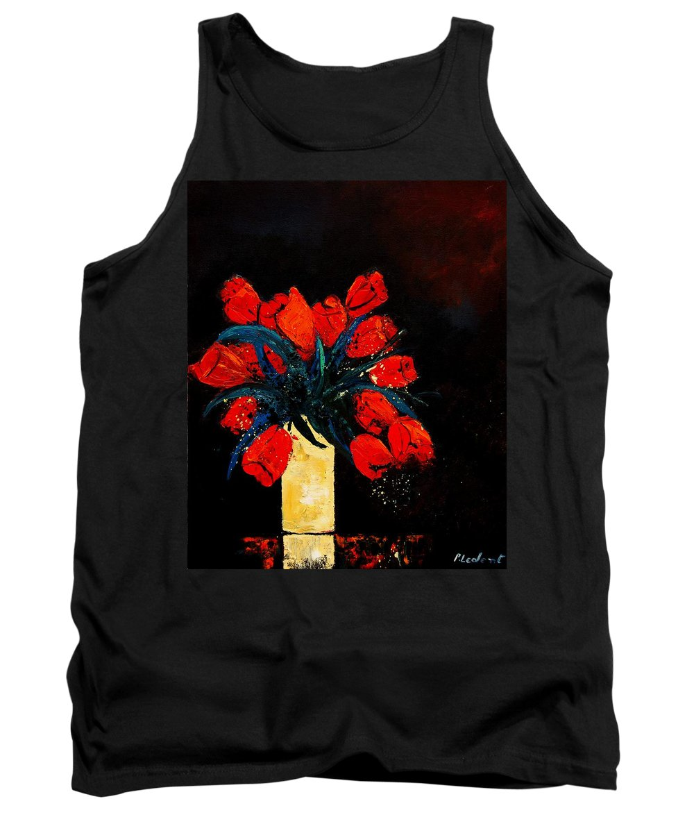Flowers Tank Top featuring the painting Red Tulips by Pol Ledent