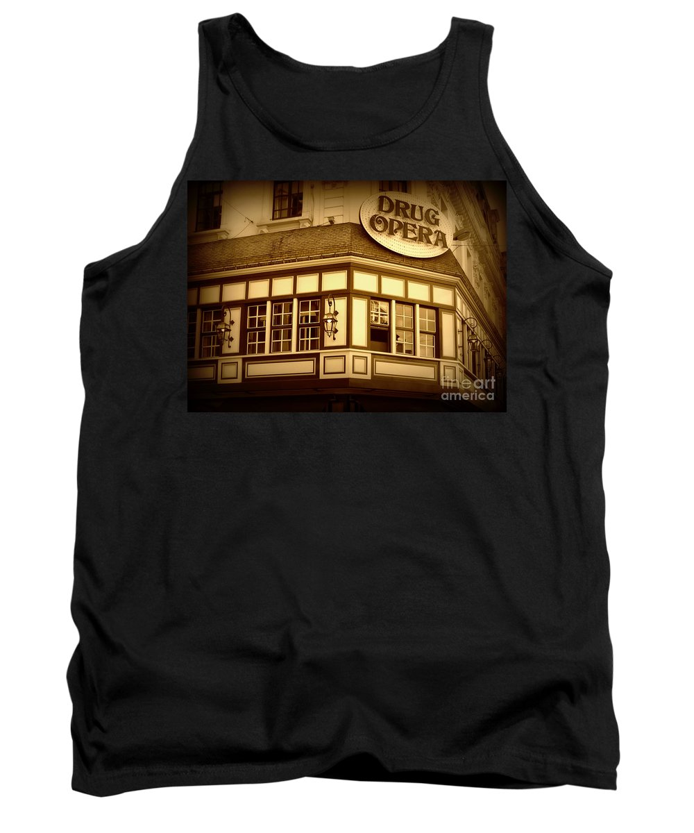 Drug Opera Tank Top featuring the photograph Restaurant Sign In Brussels by Carol Groenen