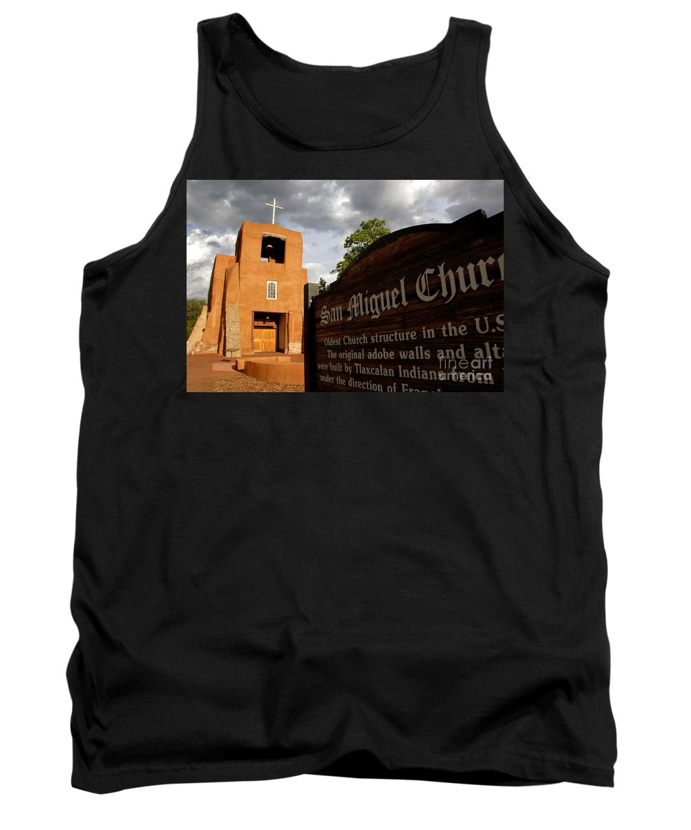 San Miguel Mission Church New Mexico Tank Top featuring the photograph San Miguel Mission Church by David Lee Thompson