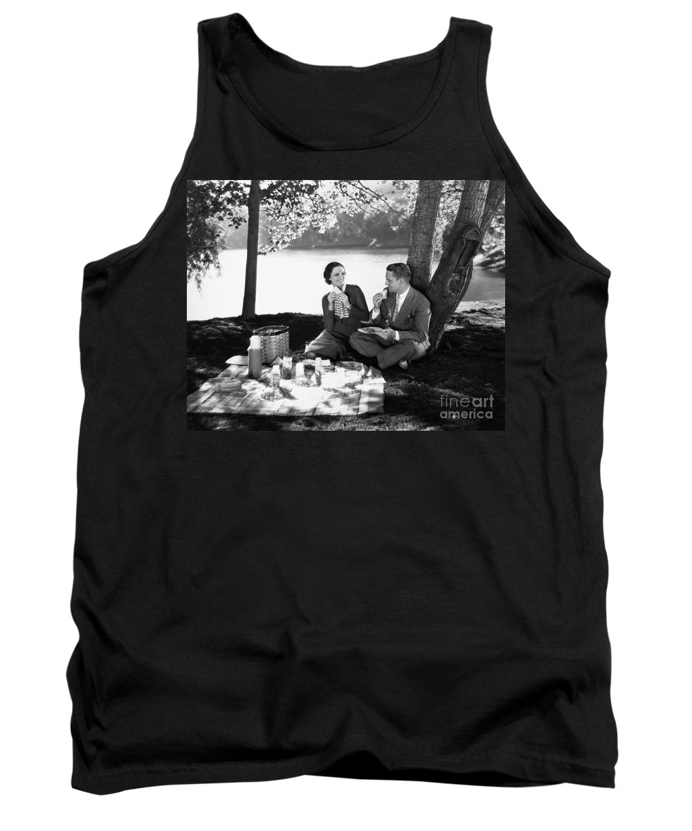 -picnic- Tank Top featuring the photograph Silent Film Still: Picnic by Granger