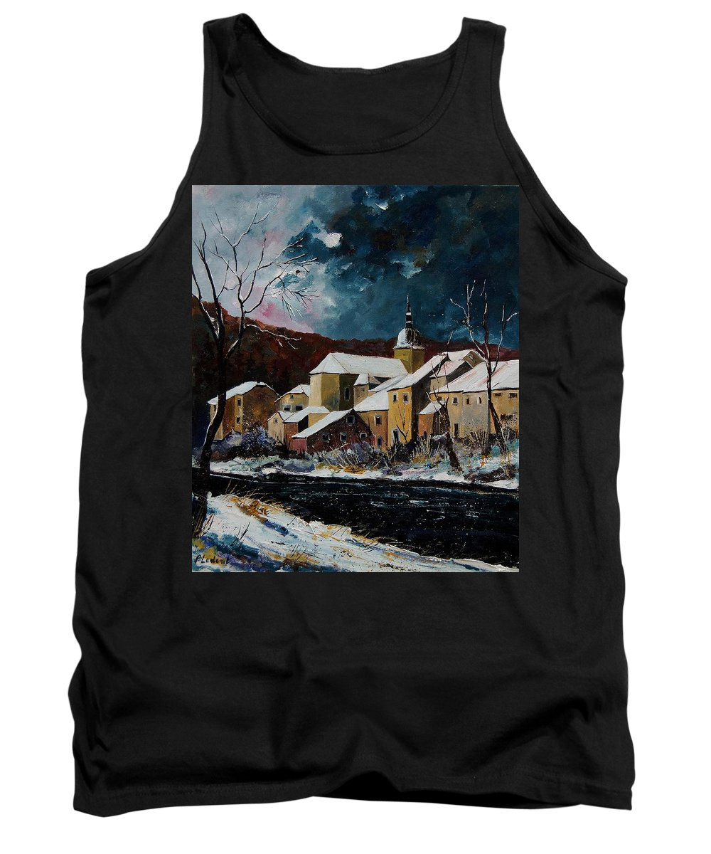 Winter Tank Top featuring the painting Snow In Chassepierre by Pol Ledent