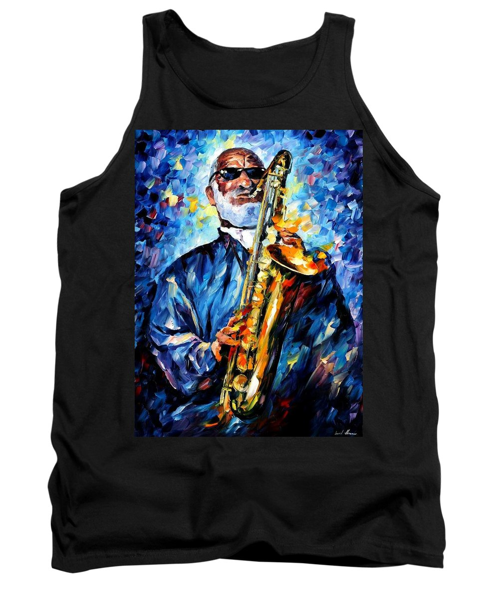 Afremov Tank Top featuring the painting Sonny Rollins by Leonid Afremov