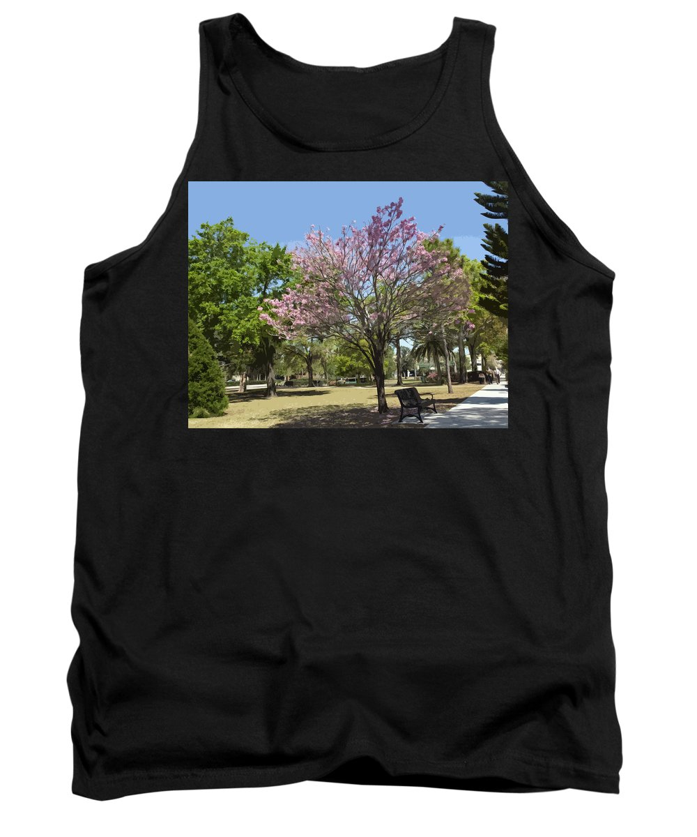 Magnolia Tank Top featuring the painting Spring Magnolia In Winter Park by Allan Hughes