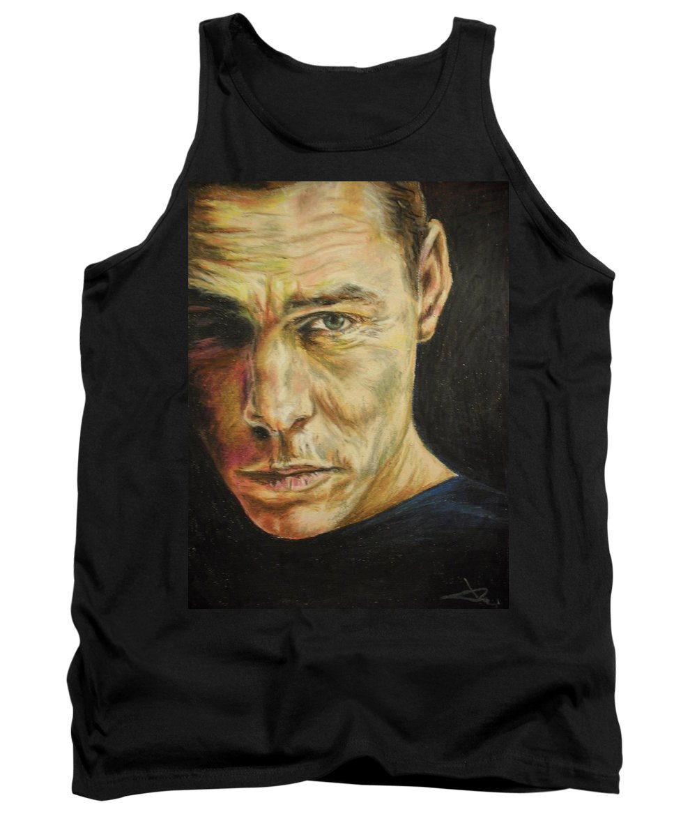 Oil Pastel Stare Realistic Color Eyes Black Portrait Human People Tank Top featuring the painting Stare by Agnes V