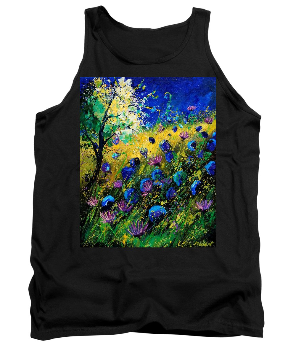 Poppies Tank Top featuring the painting Summer 450208 by Pol Ledent