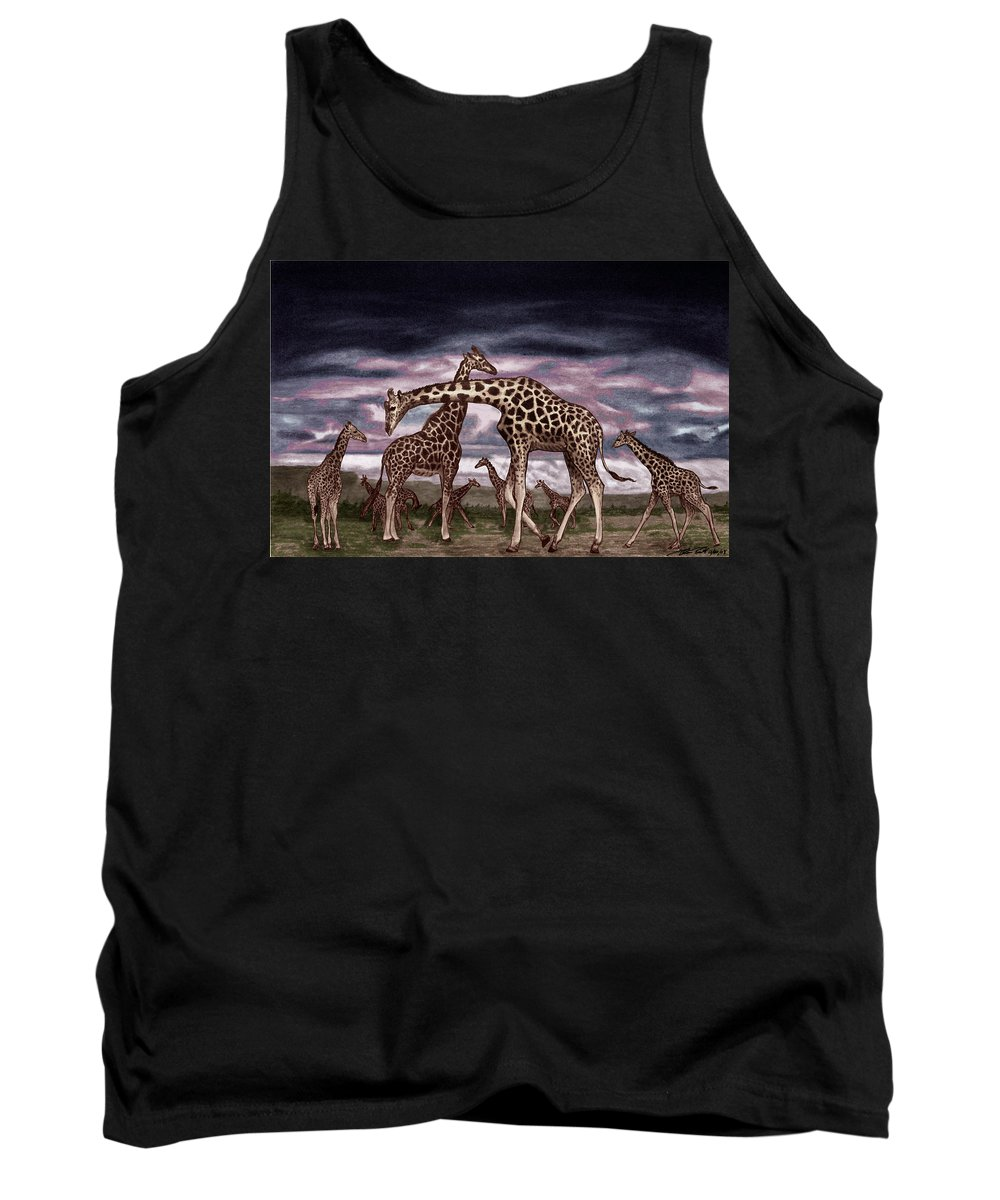 The Herd Tank Top featuring the drawing The Herd by Peter Piatt