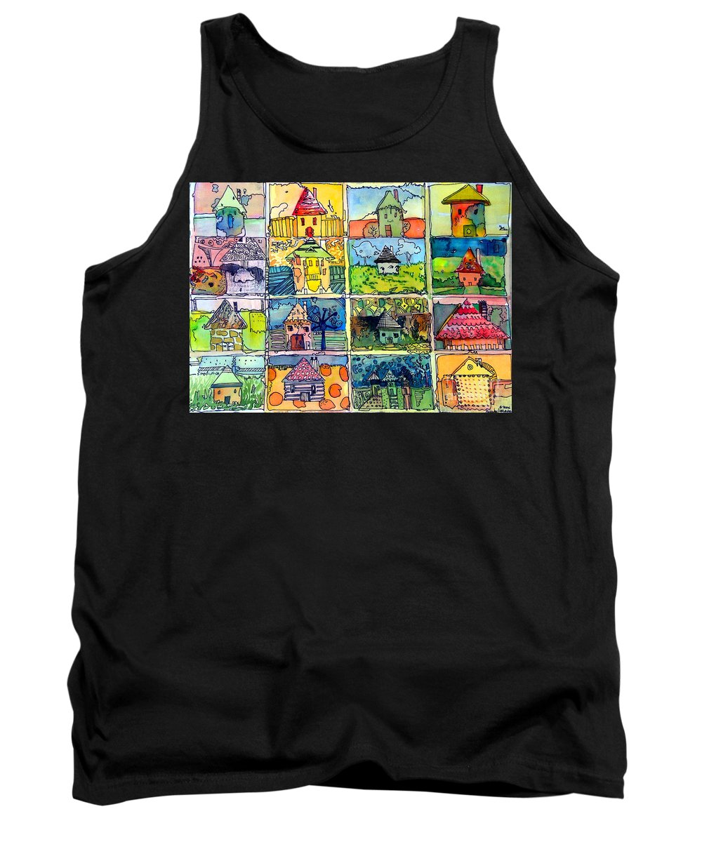 Houses Tank Top featuring the painting The Little Houses by Mindy Newman