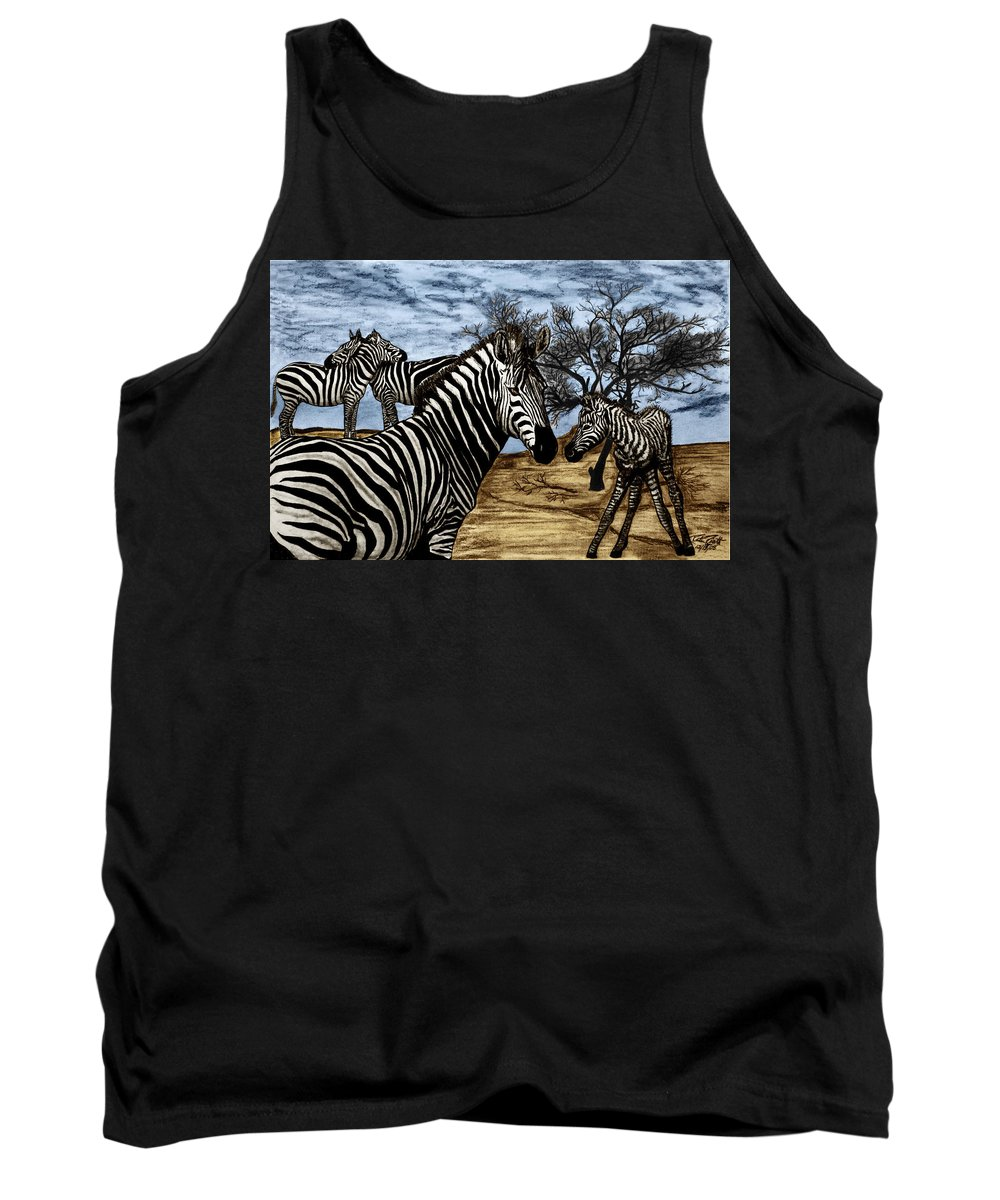 Zebra Outback Tank Top featuring the drawing Zebra Outback by Peter Piatt