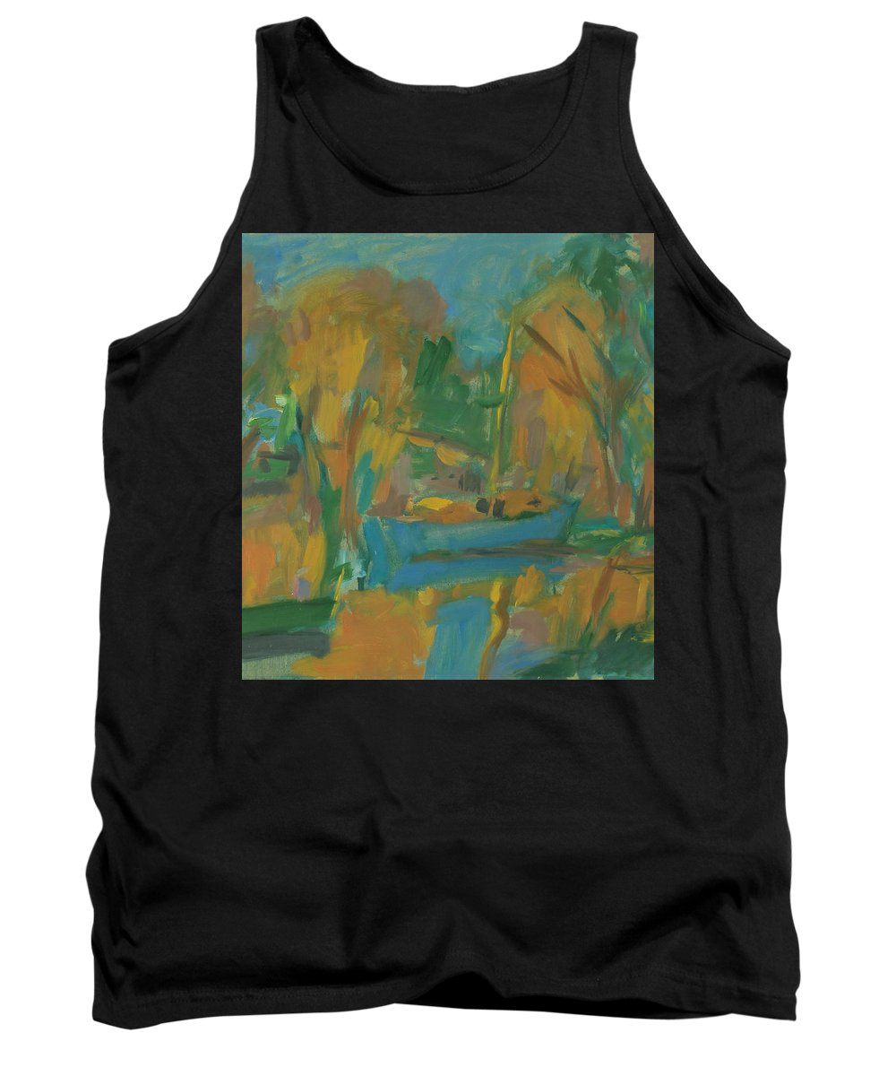 River Tank Top featuring the painting Boats by Robert Nizamov