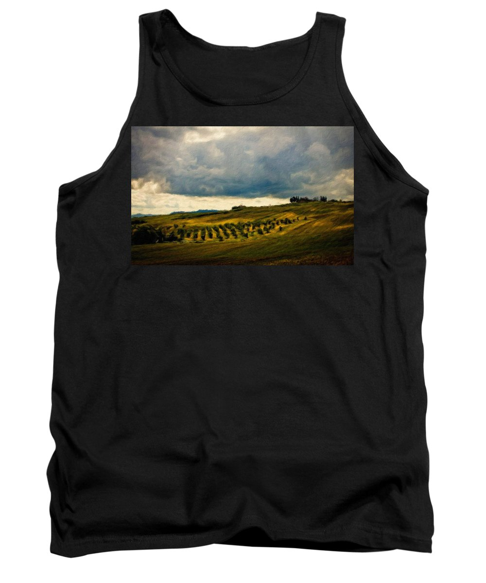 Oil Tank Top featuring the digital art Landscape Planting by Usa Map