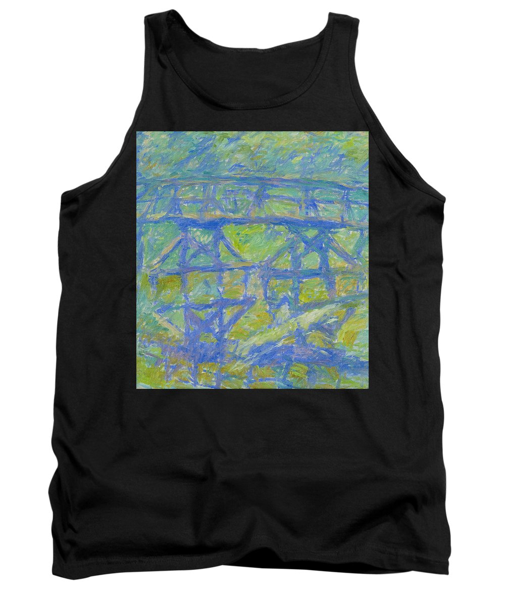 Bay Tank Top featuring the painting Bridge by Robert Nizamov