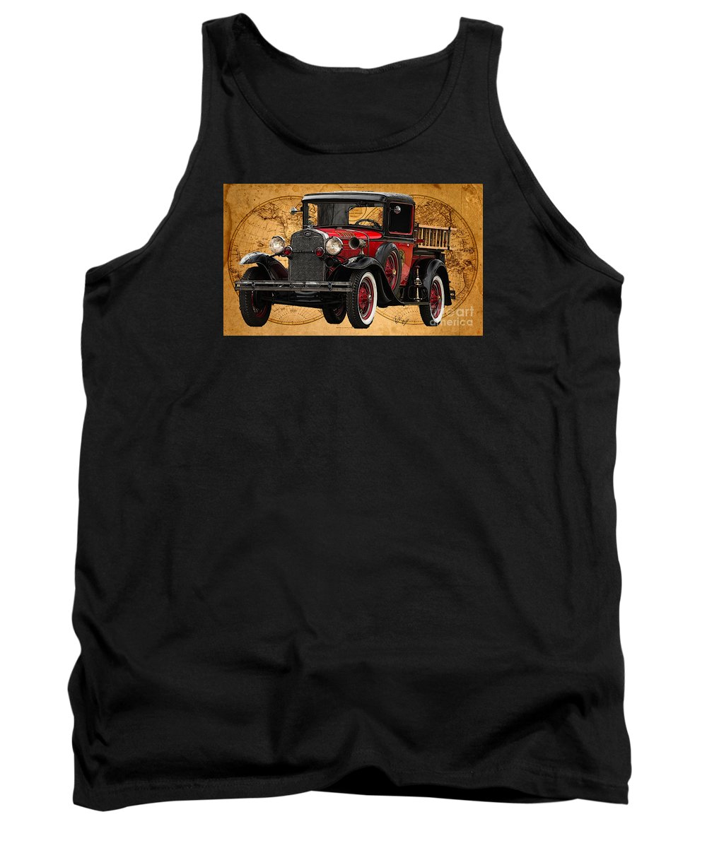 Ford Model A Tank Top featuring the painting 1931 Ford Model A Fire Truck by William Mace