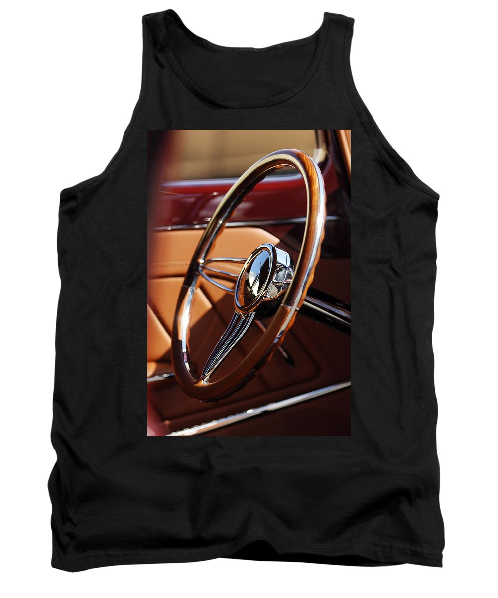 1932 Ford Tank Top featuring the photograph 1932 Ford Hot Rod Steering Wheel 2 by Jill Reger