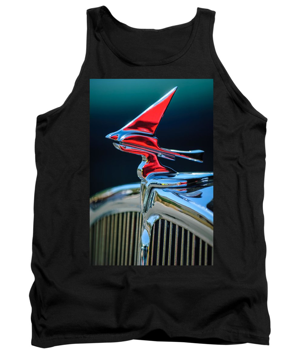Car Tank Top featuring the photograph 1933 Franklin Olympic Hood Ornament by Jill Reger