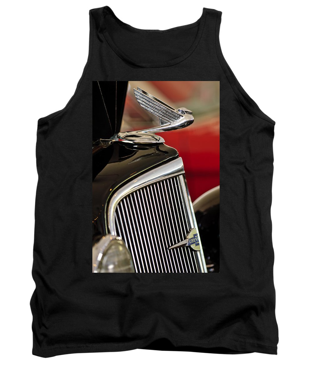 1935 Chevrolet Standard 3 Window Coupe Tank Top featuring the photograph 1935 Chevrolet Optional Eagle Hood Ornament by Jill Reger