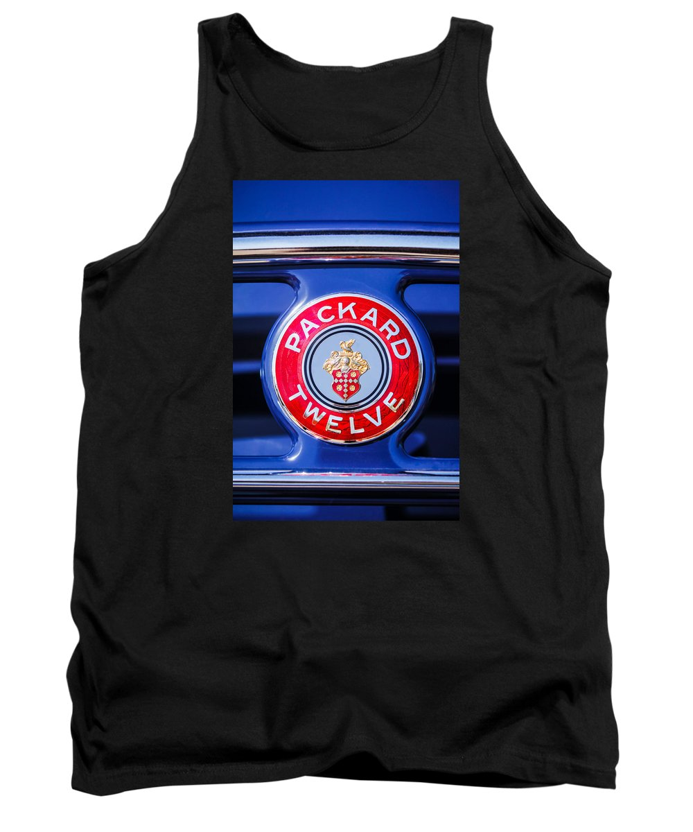 Car Tank Top featuring the photograph 1937 Packard 12 Coupe Roadster Emblem by Jill Reger